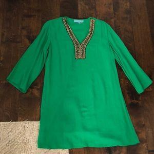 Woman's green dress